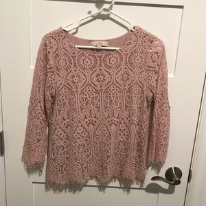 LOFT Tops - Loft pink lace blouse small